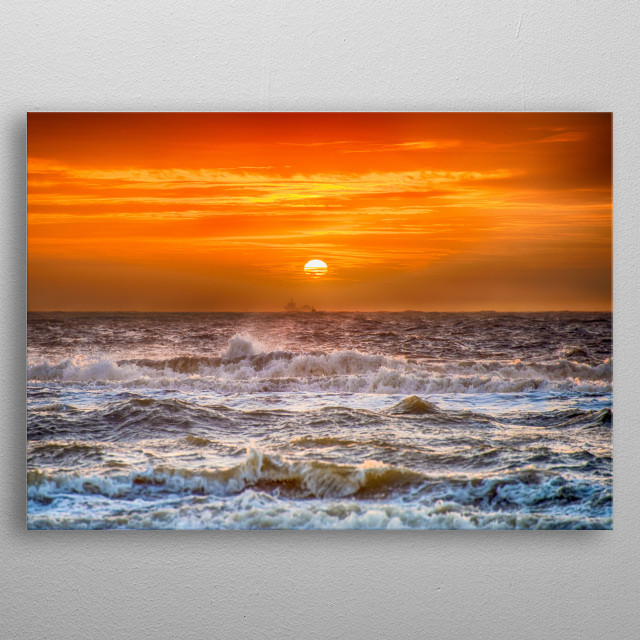 The crashing waves on the Dutch beach at sunset.... metal poster