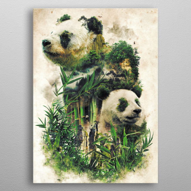Another in my surreal nature series of animals in their environment studies this is of the Giant Panda and bamboo forests of China metal poster