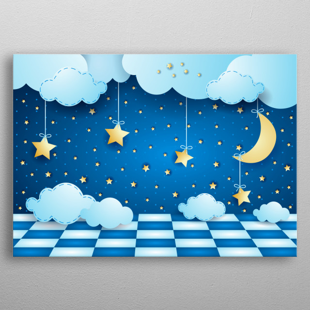 Surreal night with hanging moon, clouds and floor metal poster