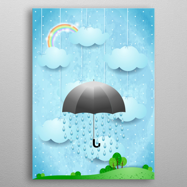 Surreal landscape with umbrella and rain metal poster