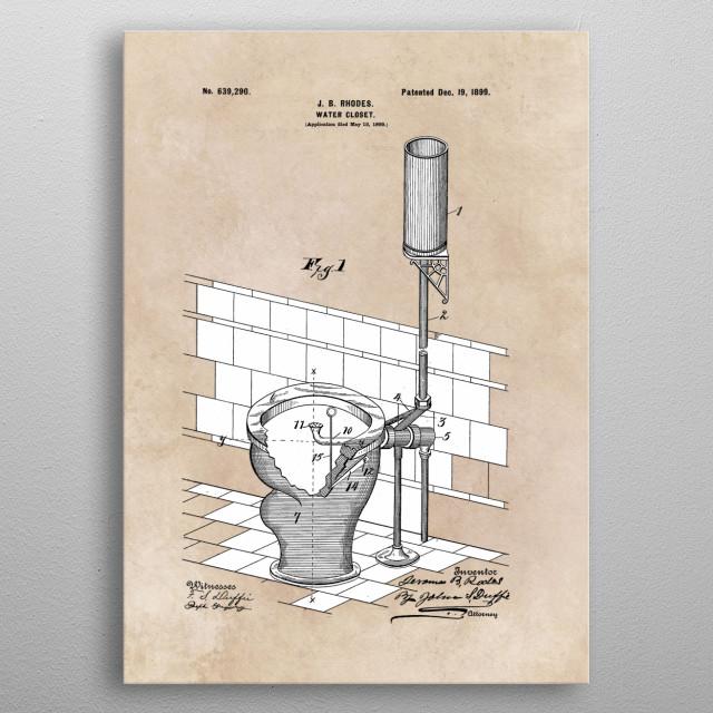 patent art Rhodes Water Closet 1899 metal poster
