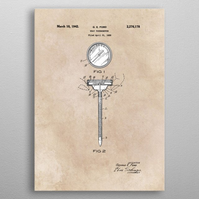 patent art Ford Meat Termometer 1939 metal poster