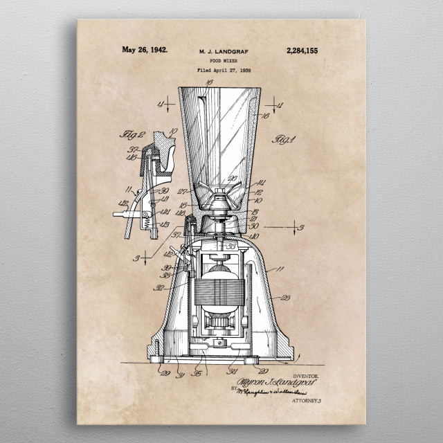 patent art Landgraf Food Mixer 1939 metal poster