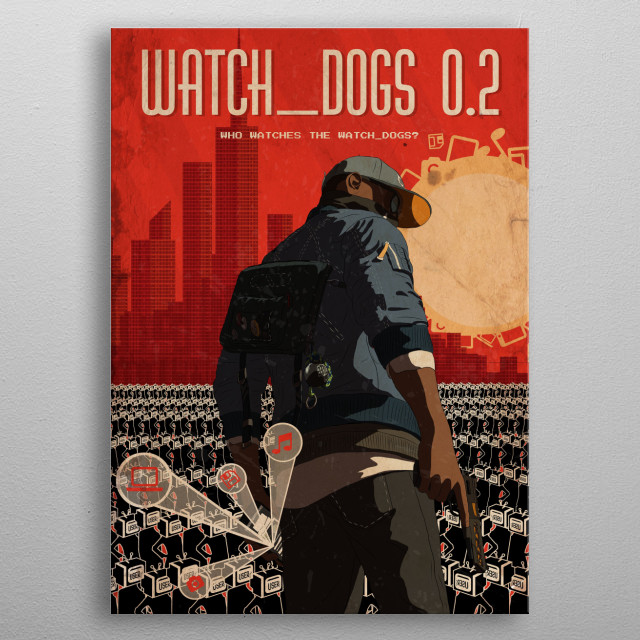 A Retro style image inspired by Watch Dogs 2 metal poster