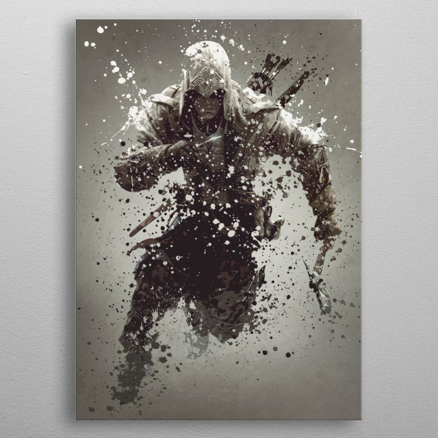 Connor. Splatter effect artwork inspired by the assassin's creed universe. metal poster