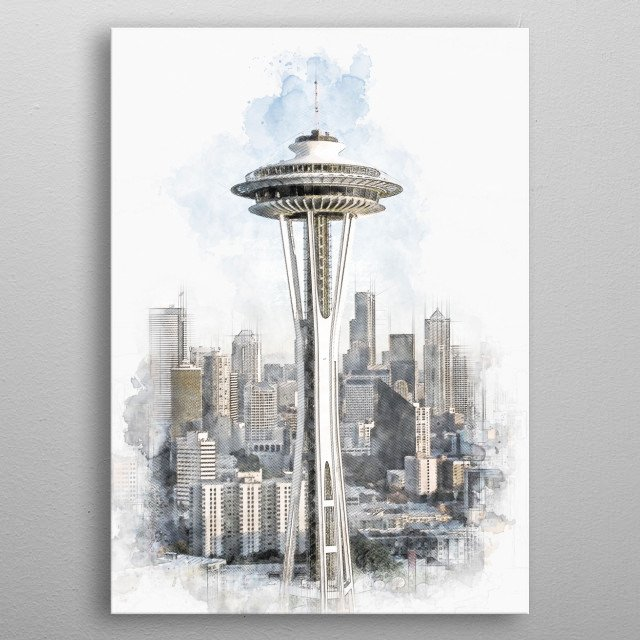 Space Needle metal poster