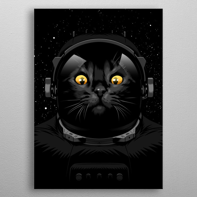 Cat astronaut metal poster