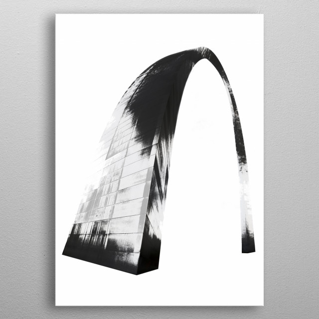 Graphic distortion of a photograph of the St. Louis Arch metal poster