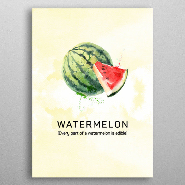 Fun facts about fruits: Every part of a watermelon is edible. Watermelon in watercolor. metal poster