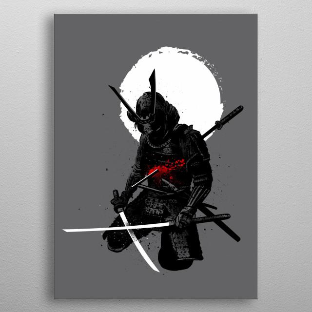 Samurai down metal poster