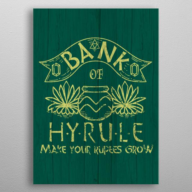 Bank of hyrule metal poster