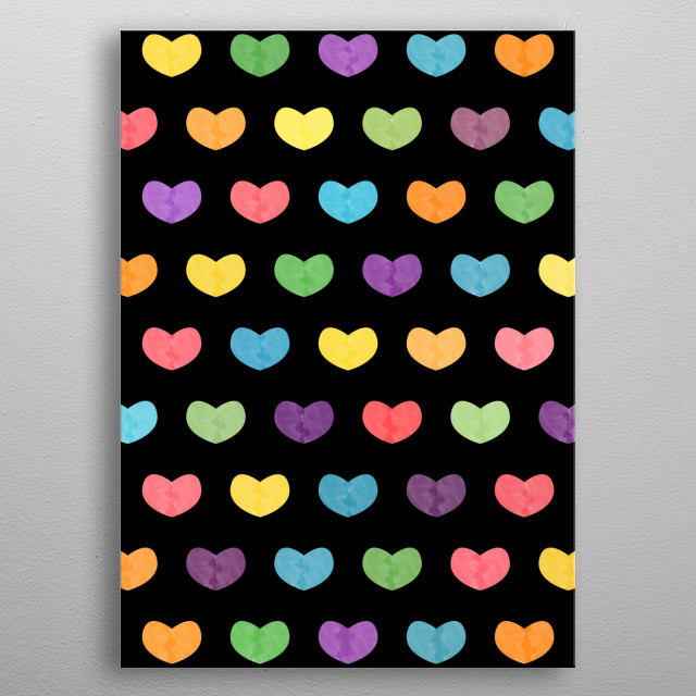 Colorful Cute Hearts metal poster