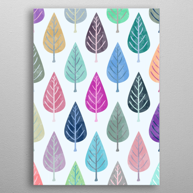 Watercolor Forest Pattern metal poster