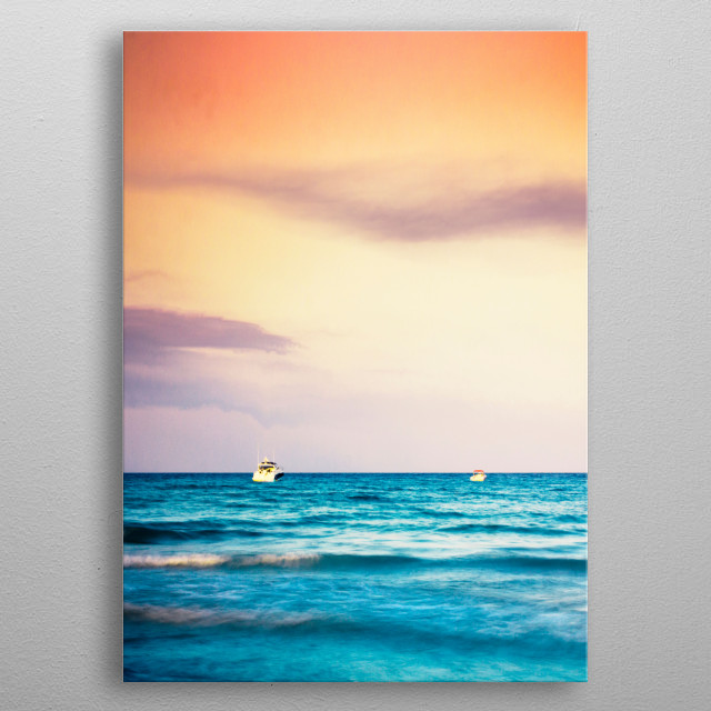 Boats on the Mediterranean metal poster