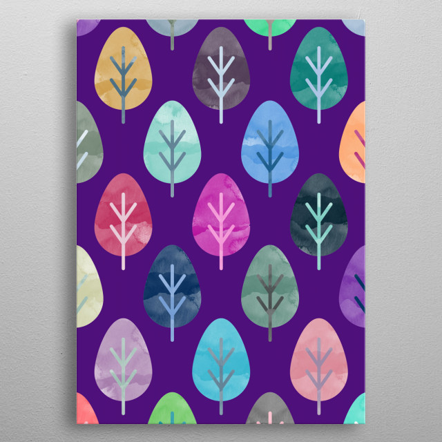 Watercolor Forest Pattern X metal poster
