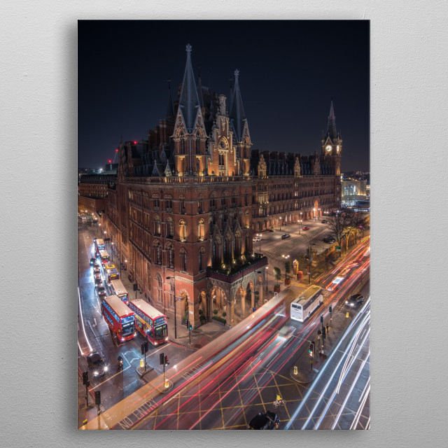 A shot of the famous St Pancras Hotel near Kings Cross Station, London metal poster