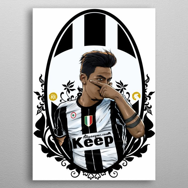 Vecchia Dybala. New illustration. The recent star of the Vecchia Signora. Paulo celebrating a goal! Great victory in Champions vs Barcelona metal poster