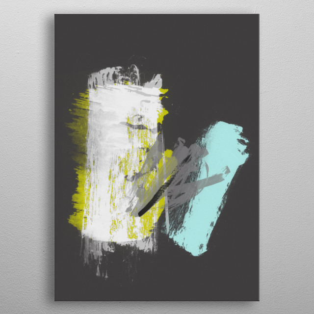 'SELF-DETERMINED'. Portrait version of my abstract painting.©4-2017 by Pia Schneider, atelier COLOUR-VISION. metal poster