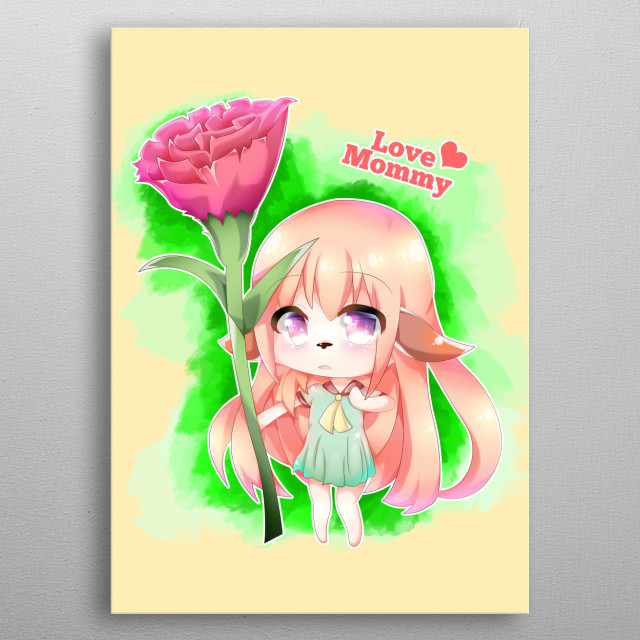 Happy Mother's Day Furry Girl. A long blonde hair, dog ear and nose, big purple anime eye, japanese chibi cartoon girl with green dress holding a red rose (or carnation) flower as a holiday gift for her Mom on Mothers Day. Happy Mothersday to all the animal lovers, what an awesome holiday. metal poster