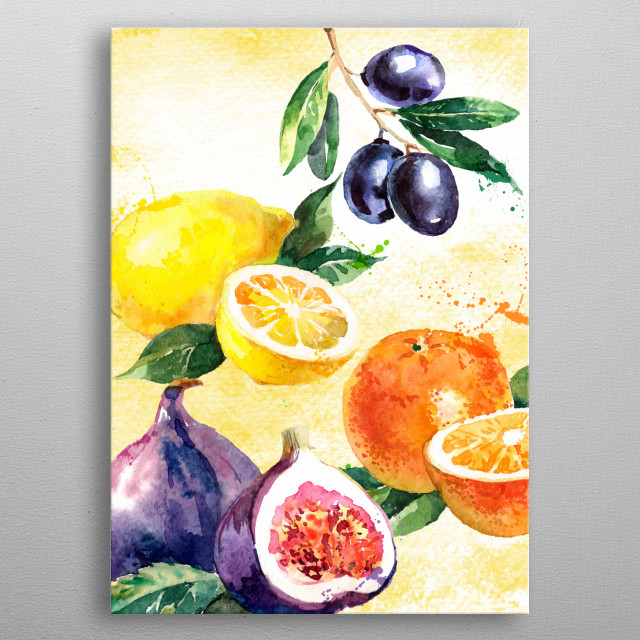 Fruits growning in the South of Europe in Watercolour. Olives, lemons, oranges and figs. Painted with leaves on a yellow background. metal poster