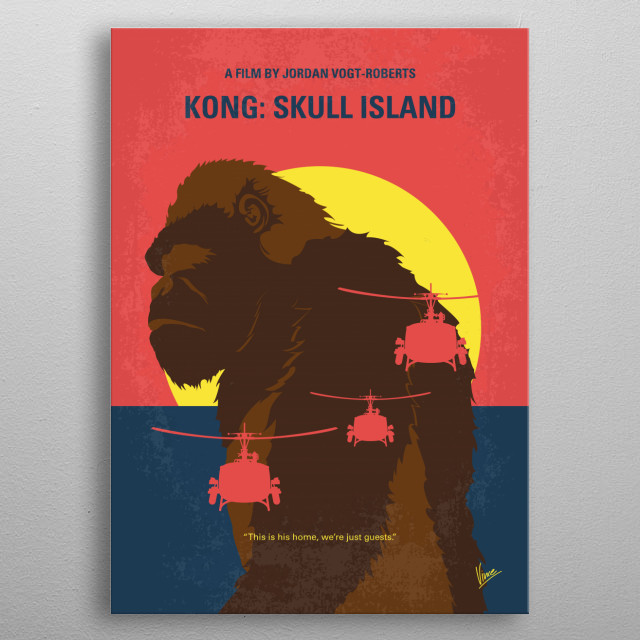 No799 My SKULL ISLAND minimal movie poster  A team of scientists explore an uncharted island in the Pacific, venturing into the domain of the mighty Kong, and must fight to escape a primal Eden.  Director: Jordan Vogt-Roberts Stars: Tom Hiddleston, Samuel L. Jackson, Brie Larson  metal poster