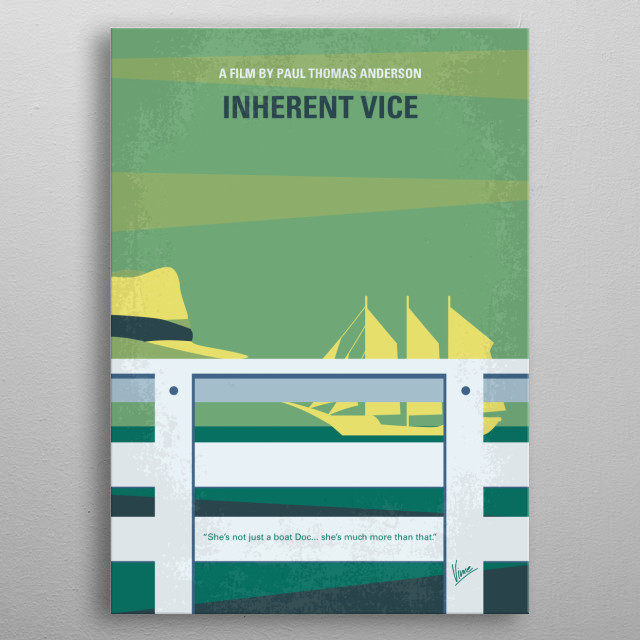 No793 My Inherent Vice minimal movie poster  In 1970, drug-fueled Los Angeles private investigator Larry Doc Sportello investigates the disap... metal poster