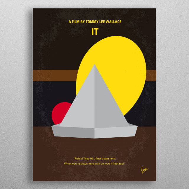 """No043 My it minimal movie poster In 1960, seven outcast kids known as """"The Loser Club"""" fight an evil demon who poses as a child-killing clown. 30 years later, they are called back to fight the same clown again. Stars: Richard Thomas, Tim Reid, Annette O'Toole metal poster"""