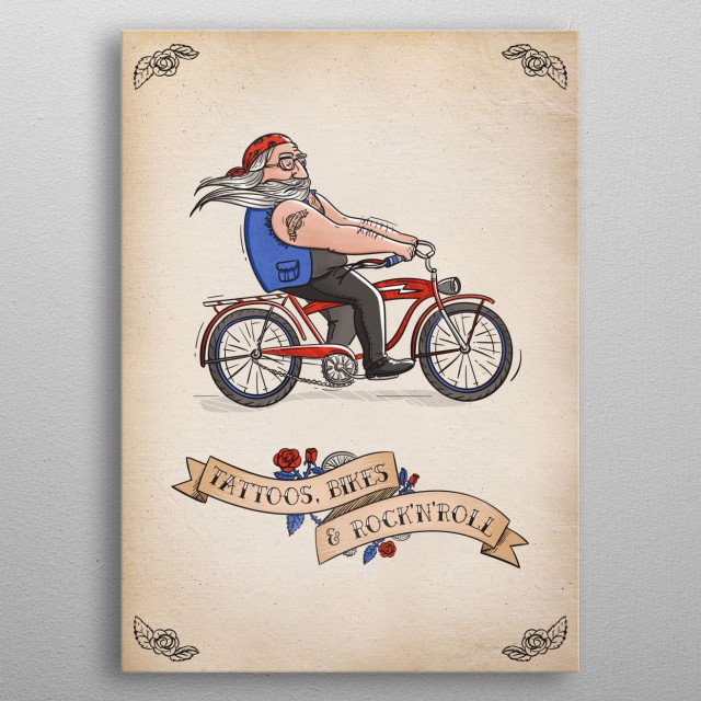 Ride fast, go far, bike hard. Adventure just waits there for you. Tattoos, bikes & rock'n'roll! ;) metal poster