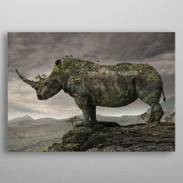 rhino serir Animal metal poster