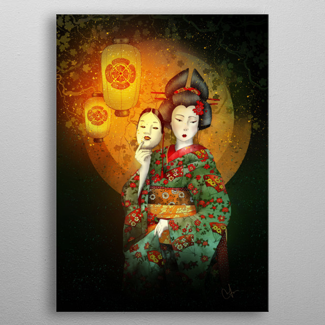 Bunraku is a form of traditional Japanese puppet theatre, metal poster