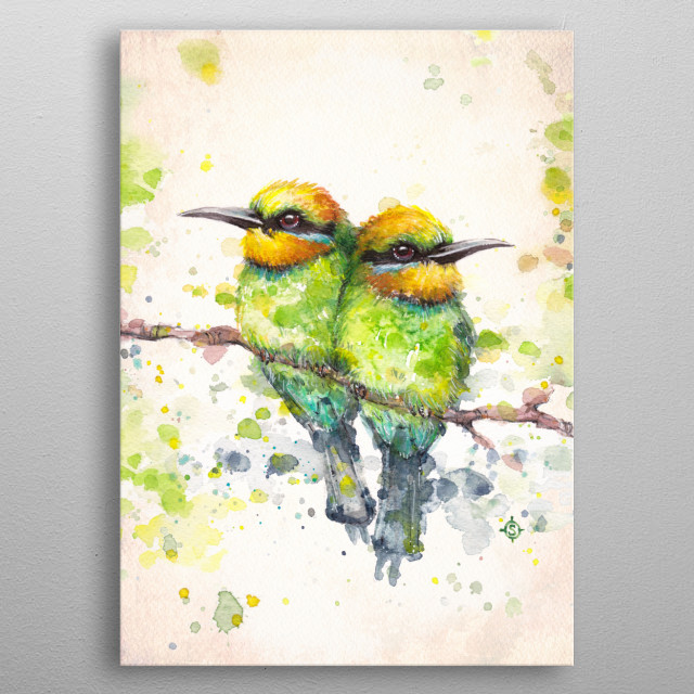 """""""Family (Rainbow Bee Eaters)"""" Water Colour Art metal poster"""