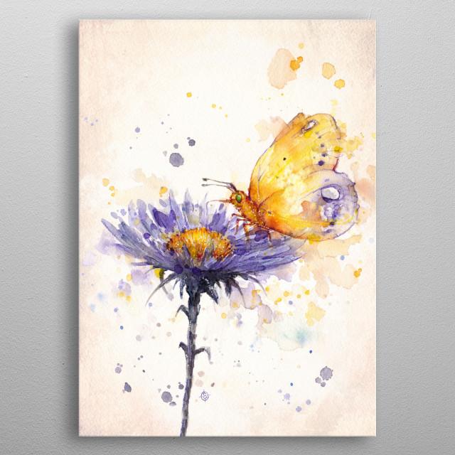 """Flowers & Flutters""  Water Colour Art metal poster"