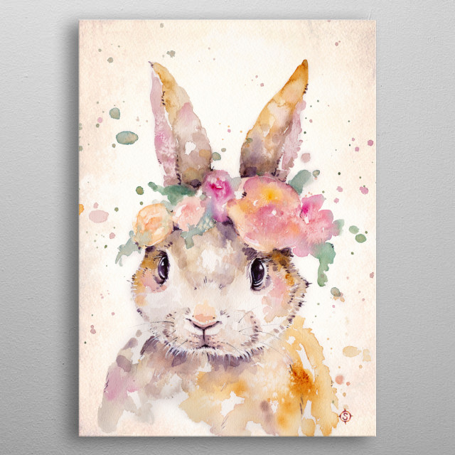 """Little Bunny""Water Colour Art metal poster"