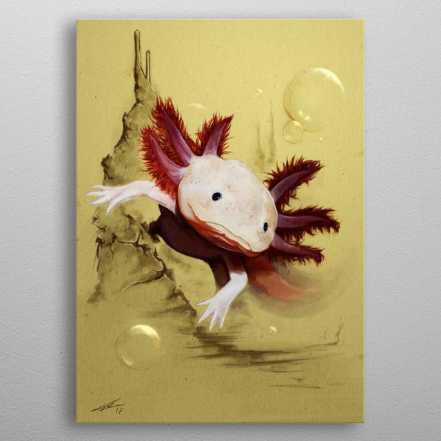 Axolotl metal poster