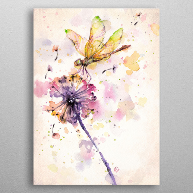 """Dragonfly & Dandelion""  Water Colour Art metal poster"