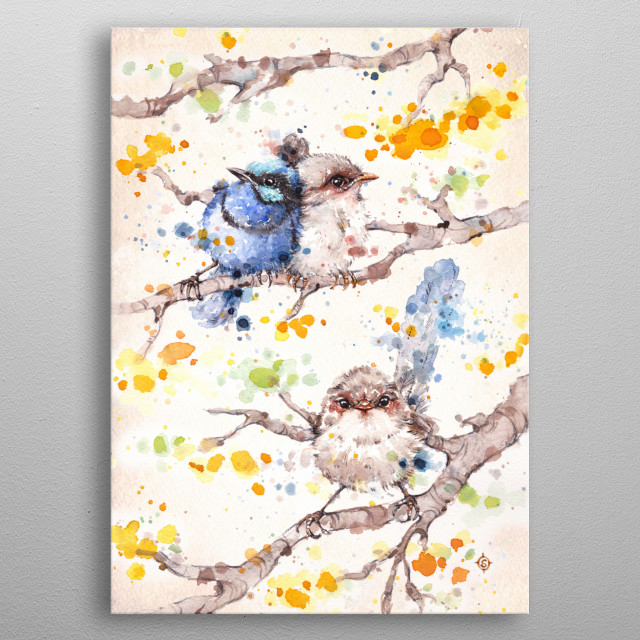 Family Life (Blue Fairy Wrens) Water Colour Art metal poster