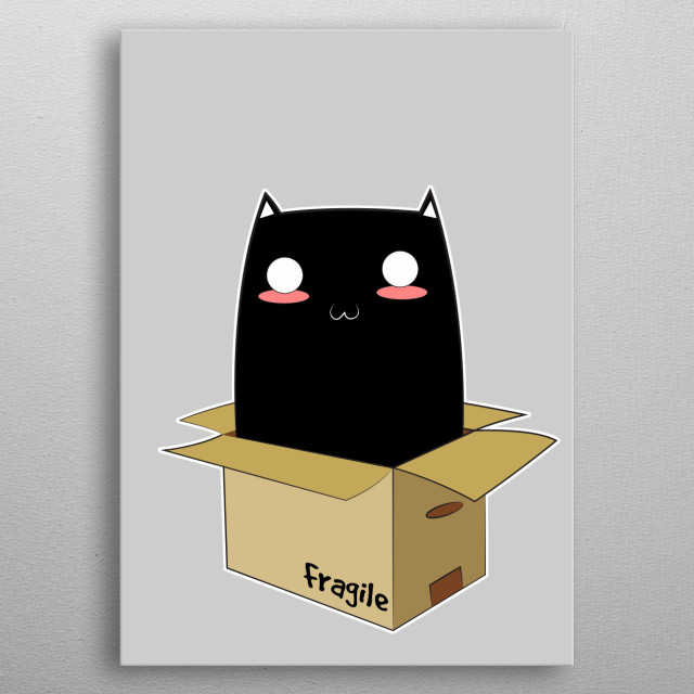 Black Cat in a Box. An ordinary Black Kitten with super kawaii face waiting to be adopted. the cardboard box seems a little too small for him... metal poster