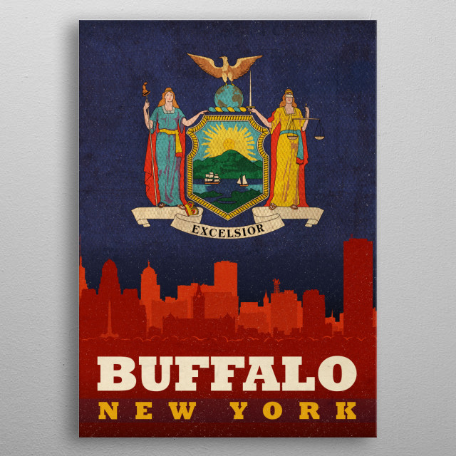 High-quality metal print from amazing City Skylines On State Flags collection will bring unique style to your space and will show off your personality. metal poster