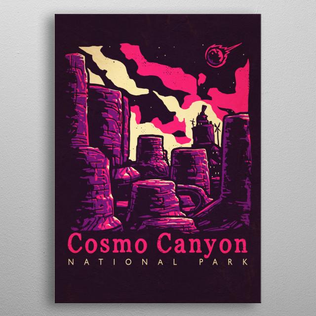 """Cosmo Canyon"" National Park by Ronan Lynam - / Final Fantasy 7 / Final Fantasy vii / FF7 / Gaming / Video Games / National Park / Playstation 4 PS4 / Retro Gaming / Retro Games / Vintage Posters / Wall Art metal poster"