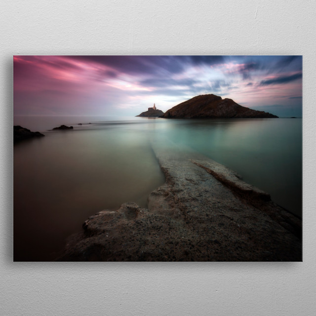 A calm full tide evening at Mumbles Lighthouse in Swansea Bay, UK. metal poster