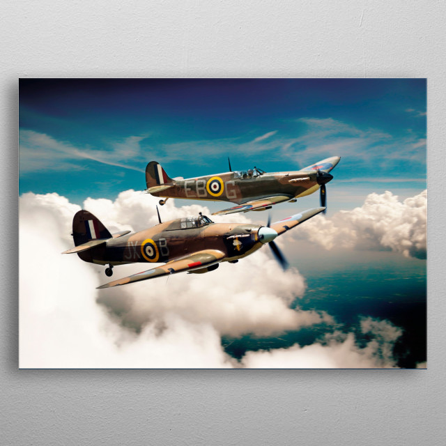 Spitfire and Hurricane of the Battle of Britain Memorial Flight metal poster