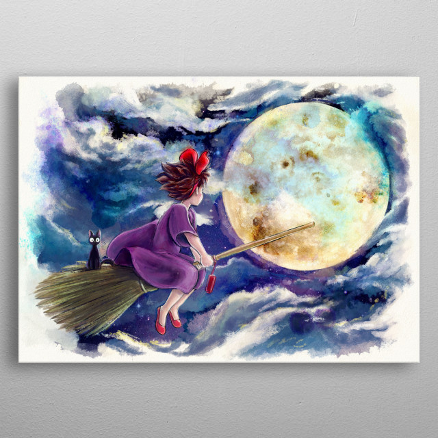 My painting of the night flight of a witch inspired by the classic film by the master Miyazaki-San metal poster