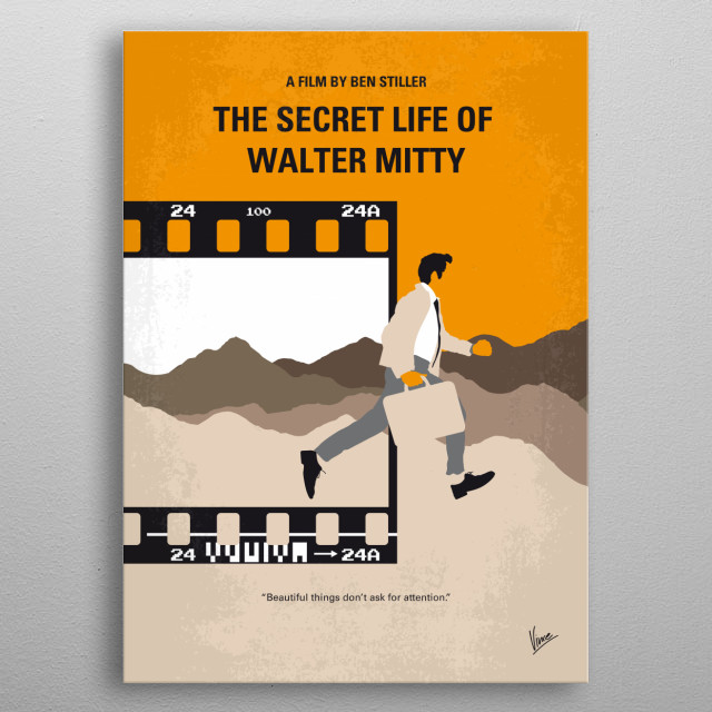 No806 My The Secret Life of Walter Mitty minimal movie ... metal poster