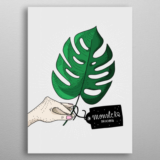 Monstera Deliciosa/botanical illustration by atogrzywa metal poster