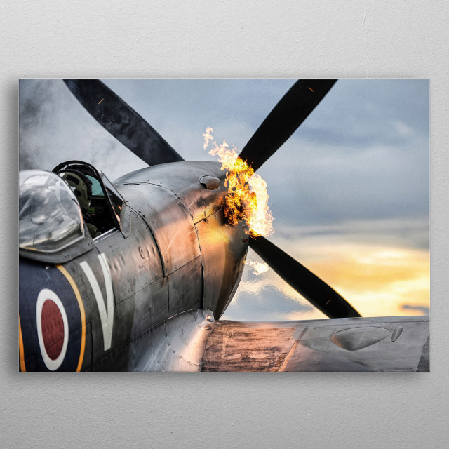 Spitfire TE311 of the RAF Battle of Britain Memorial Flight during a hot start. metal poster
