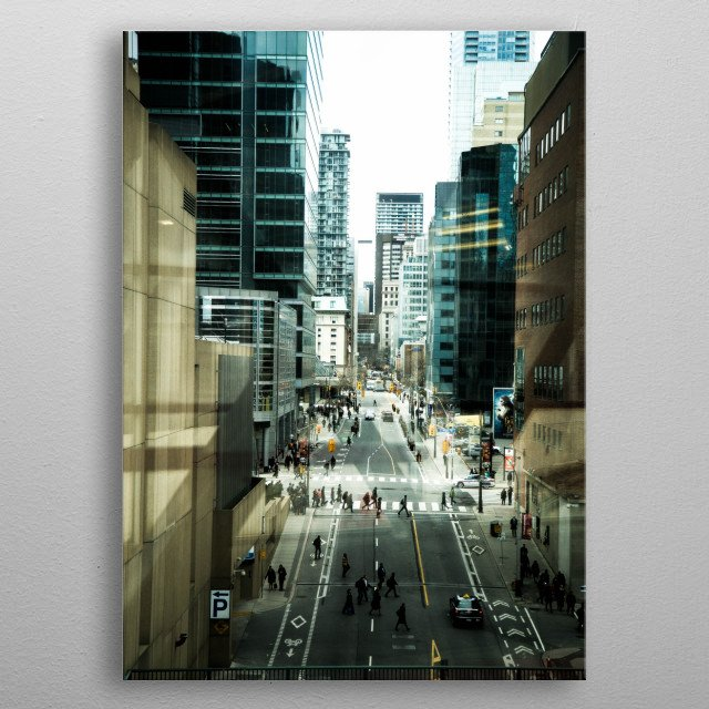 Get lost in the many layers of this unique perspective of Lower Simcoe Street in downtown Toronto. Cool blue and grey tones capture the essence of the busy city life. metal poster