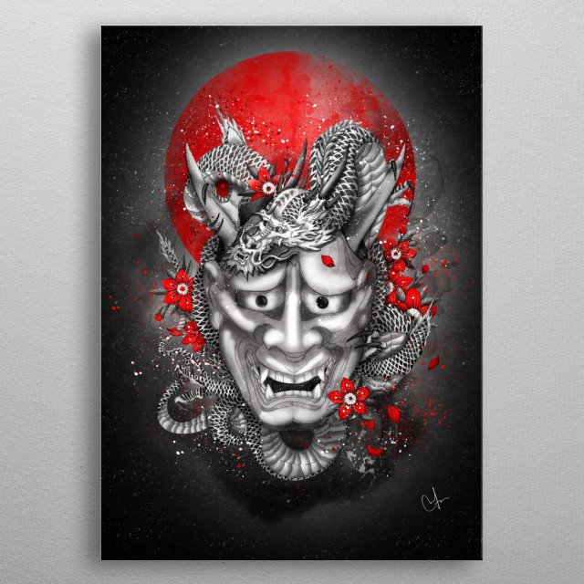 Hannya dragon mask metal poster