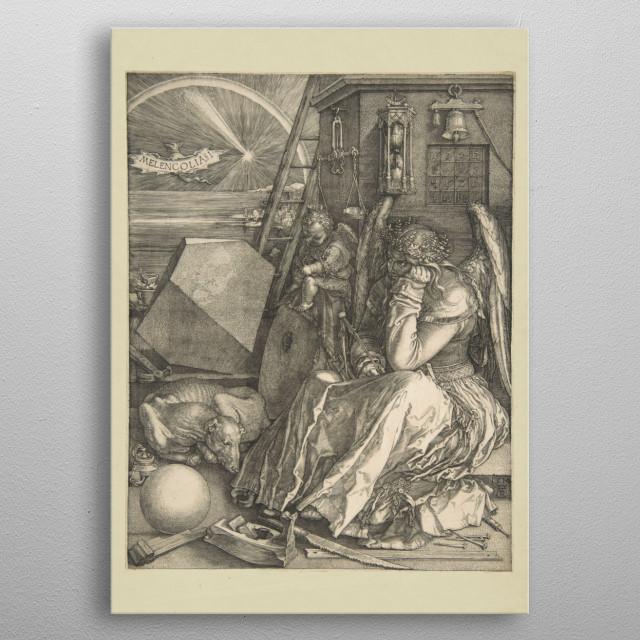 Albrecht Dürer - Melencolia I, 1514, engraving;  Collection of The Metropolitan Museum of Art In New York metal poster