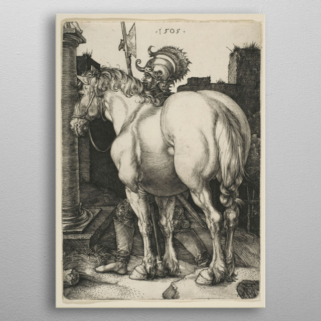 Albrecht Dürer - The Large Horse, 1505, engraving; Collection of The Metropolitan Museum of Art In New York metal poster
