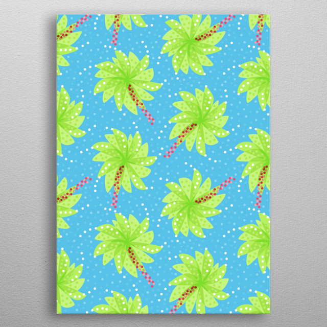 Fresh, bright and cheerful pattern of green abstract flowers resembling palm trees in clear blue sky with blue dots. metal poster